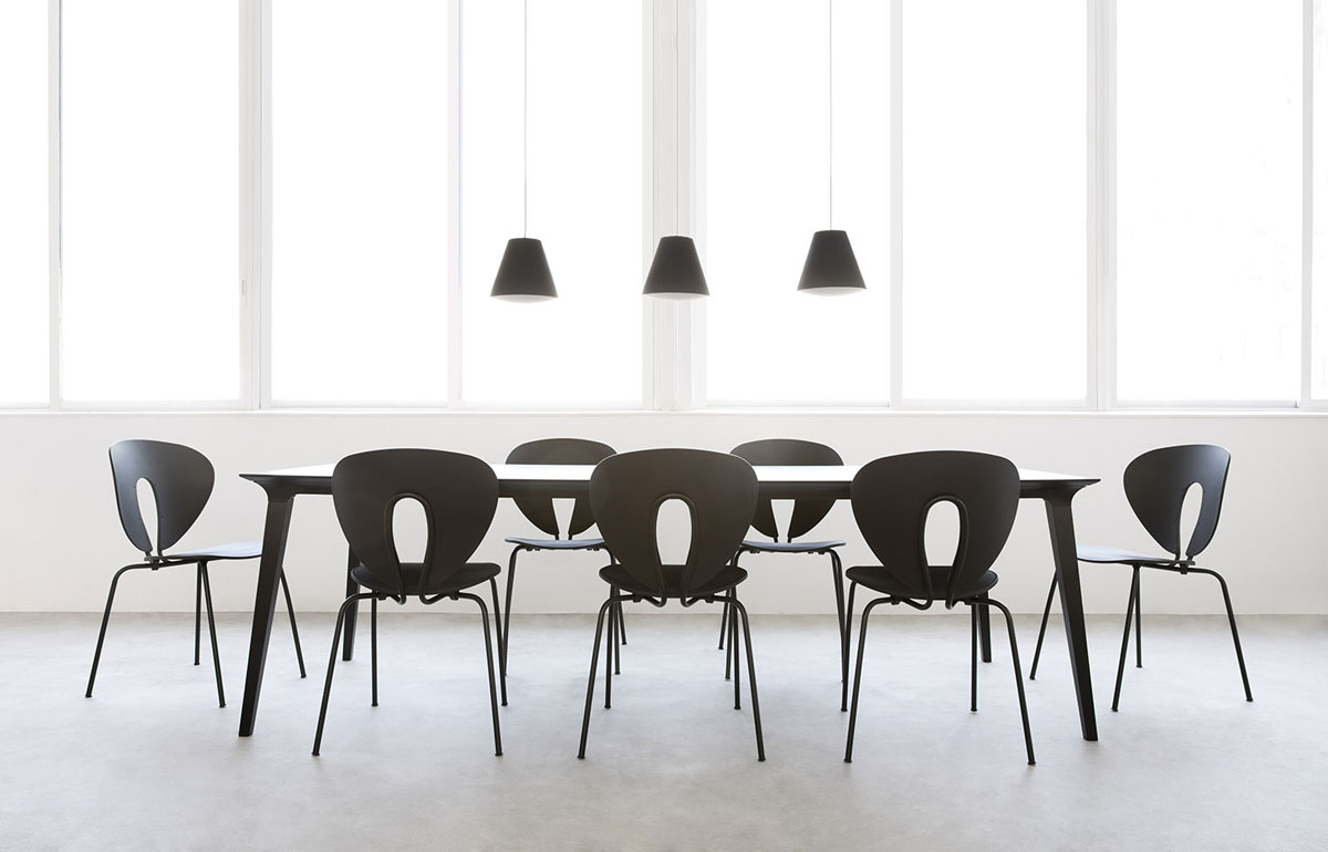 Superior Large Lau Meeting Table And Globus Chairs, In Black